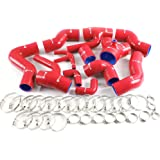 Silicone Boost Piping Hose Kit Clamps Red For 97-01 Audi S4 RS4 A6 B5