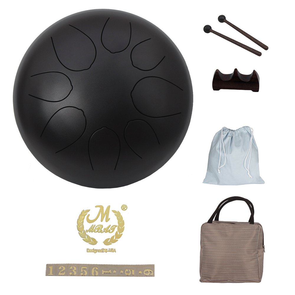 Muslady 10 inch Steel Tongue Drum Percussion Instrument Hand Pan Drum with Drum Mallets Carry Bags Note Sticks by Muslady