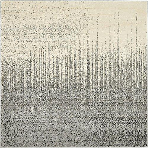 Unique Loom Del Mar Collection Contemporary Transitional Gray Square Rug (6' x 6') (Gray Rug Square)