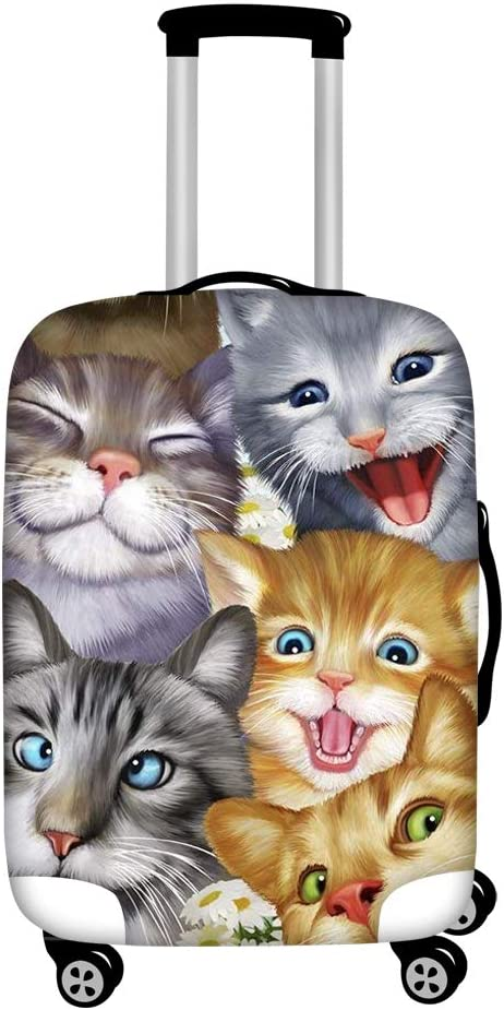 HUGS IDEA Kitten Selfie Print Luggage Protector Bag Travel Suitcase Cover Fits 18/20/22 Inch