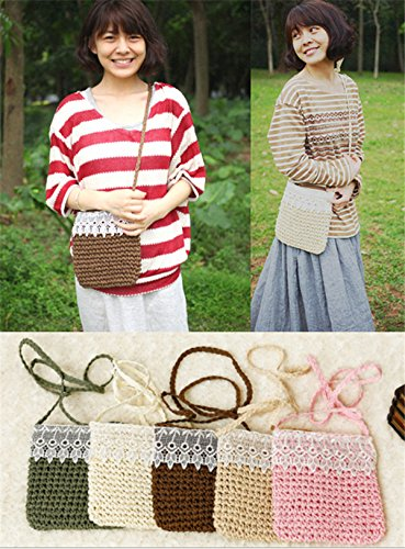 Messenger Bag Boho Body Cross Cute Knitted Lace Shoulder Handmade beige Straw Handbag RwnHqx46