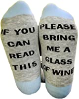 Set of 2 100% Cotton If You Can Read This Bring Me A Glass Of Wine Tube Socks