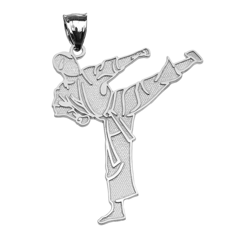 Fine Sterling Silver Karate Martial Arts Pendant Necklace