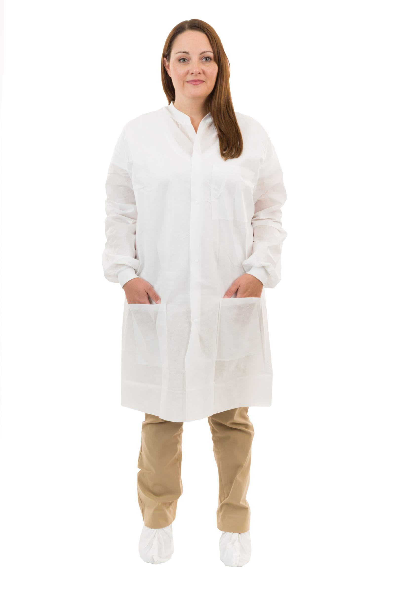 International Enviroguard Disposable White SMS Lab Coats | Medical | Dental (3 Pockets, Knit Wrist) (Medium, Case of 50)
