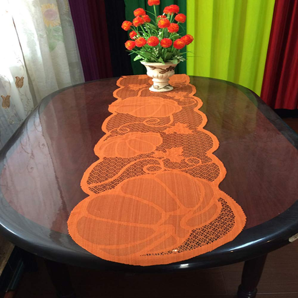 59.85x20.08 Gaddrt Pumpkin Lace Table Toppers Fireplace Cloth Pumpkin Maple Leaf Orange Spice Fall Thanksgiving