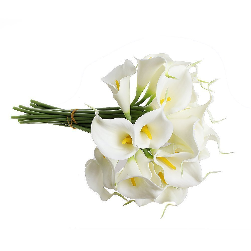Supla Real Touch Calla Lily Artificial Silk Flower Bundle Fake Calla Lily in White with Yellow Stamens 20 Stems Per Bundle 13'' Tall x 9'' Diameter