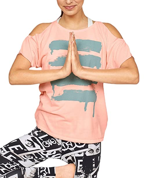 Camisetas Mujer Manga Corta Verano Casual Cuello Redondo T Shirt Off Shoulder Blusas Anchos Yoga Estampadas