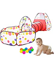 LUMAMU Kids Play Tunnel Tent with Ball Pit, Children's Play Tents Playhouse for Baby Indoor Outdoor Playground