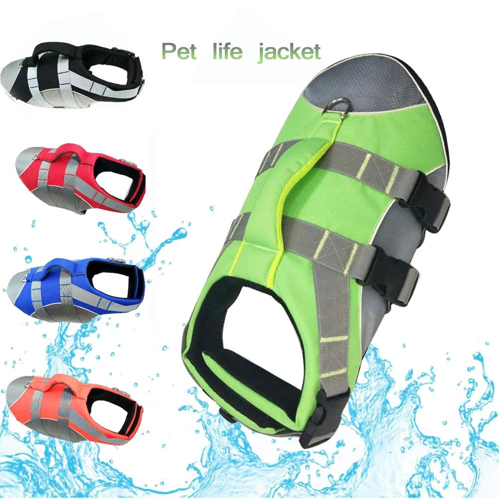 Green Small green Small Pet Life Jackets, Adjustable Dog Safety Vest,Dog Float Coat with Reflective Strips, Costume Swimwear Adjustable Ripstop Pet Life Vest for Small, Medium, Large Dogs