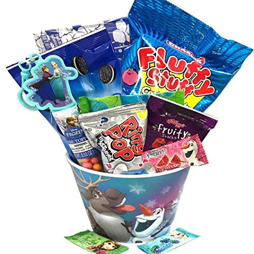 Kids - Toddler's - For Toddler - Young Child - Boy or Girl - Frozen Filled Popcorn and Candy Gift Basket - Perfect for Birthdays, Get Well, Road Trips, Thinking of You! (Frozen #2)