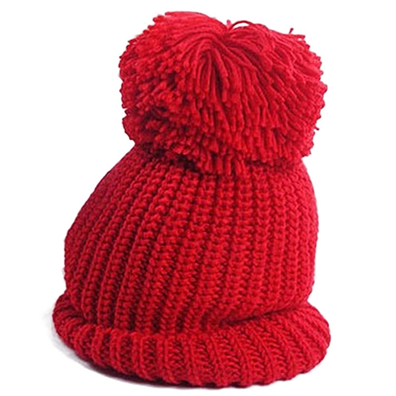 Damen Mütze Pudelmütze Beanie Wollmütze Strickmütze Skimütze Hut Winter Mütze