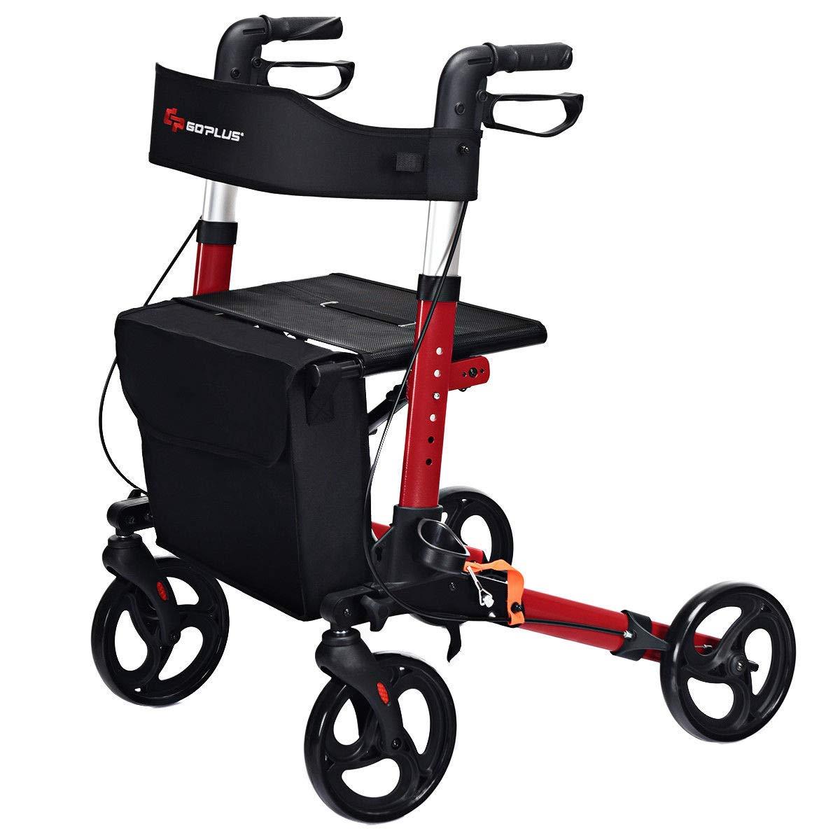 Goplus Folding Rollator Walker, 4 Wheel Medical Rolling Walker with Seat & Bag, Mobility Rollator Lightweight Aluminum Walker with 8'' Wheels for Seniors (Red) by Goplus