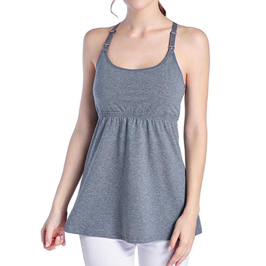Gusspower Chaleco de Maternidad Tank de Lactancia Sujetador para Camiseta para Mujer/Top Premamá