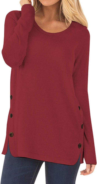 CYiNu Women Casual Long Sleeve Tops Loose Fall Pullover Tunic Shirts Blouses