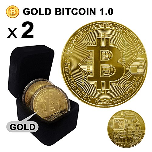 TAISHAN 2 Pcs Toy Bitcoin, Travel Commemorative Collectible Gift BTC Coin Beautiful Art Collection Gift Physical Coin Golden Color