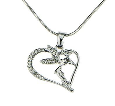 Amazon elegant silver iced out crystal fairy heart pendant elegant silver iced out crystal fairy heart pendant charm mood necklaces jewelry for teen girls women aloadofball Image collections