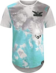 c9e92789b0dcbf New Men Aviator Tie Dye Shirts Patches Rounded Elongated Shirts Tees 8  Colors