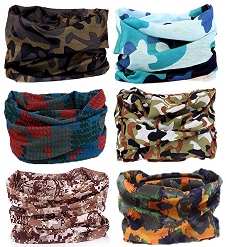 SmilerSmile 6pcs Assorted Seamless Outdoor Sport Bandanna Headwrap Scarf Wrap, 12 in 1 High Elastic Magic Headband & Collars Muffler Scarf Face Mask with UV Resistance, (Camo 1)
