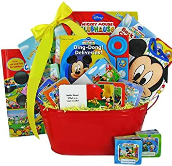 mickey mouse book basket baby shower or christmas holiday gift idea for newborns or toddler
