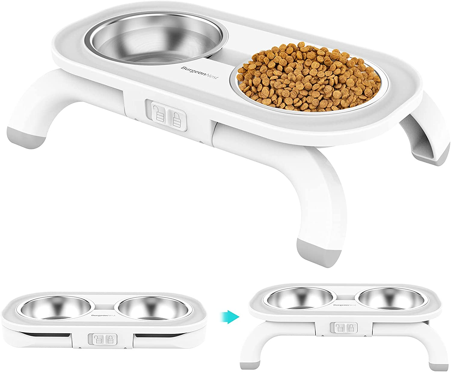 BurgeonNest Kitten Elevated Food Water Bowl Set, 15°Tilted Raised Cat Dishes with Stand for Indoor Cats Puppy, Stainless Steel Pet Bowls Ant Proof No Spill Feeding Station