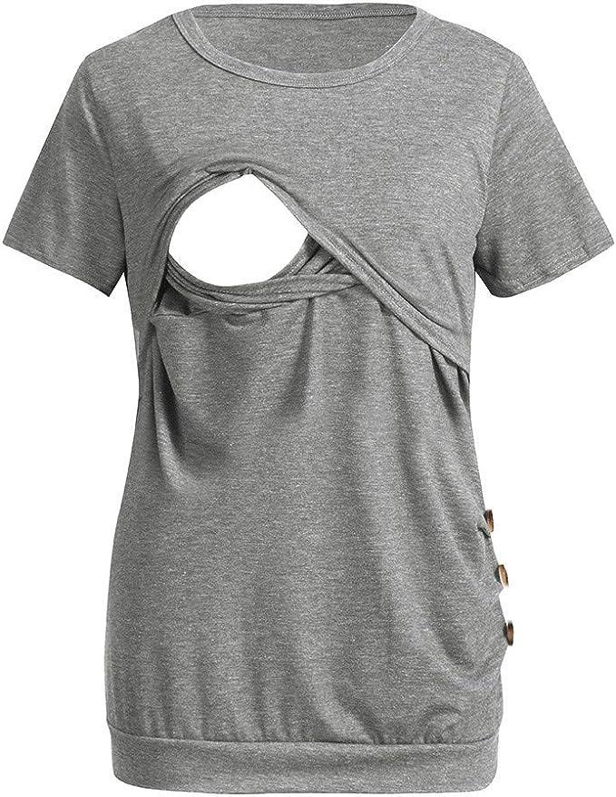 STRIR Camisetas Mujer Manga Corta Lactancia Maternidad Enfermeria Camisas, Camiseta de Mujer Maternidad de Doble Capa, premamá Lactancia Blusa de Lactancia Top: Amazon.es: Ropa y accesorios