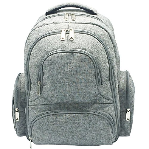 Diaper Bag – Multi-Function Portable Waterproof Nappy Large Backpack For Travel With Baby – Stroller Straps, Changing Mat, Insulated Pockets – Unisex Men & Women-Stylish Cute Design-Grey
