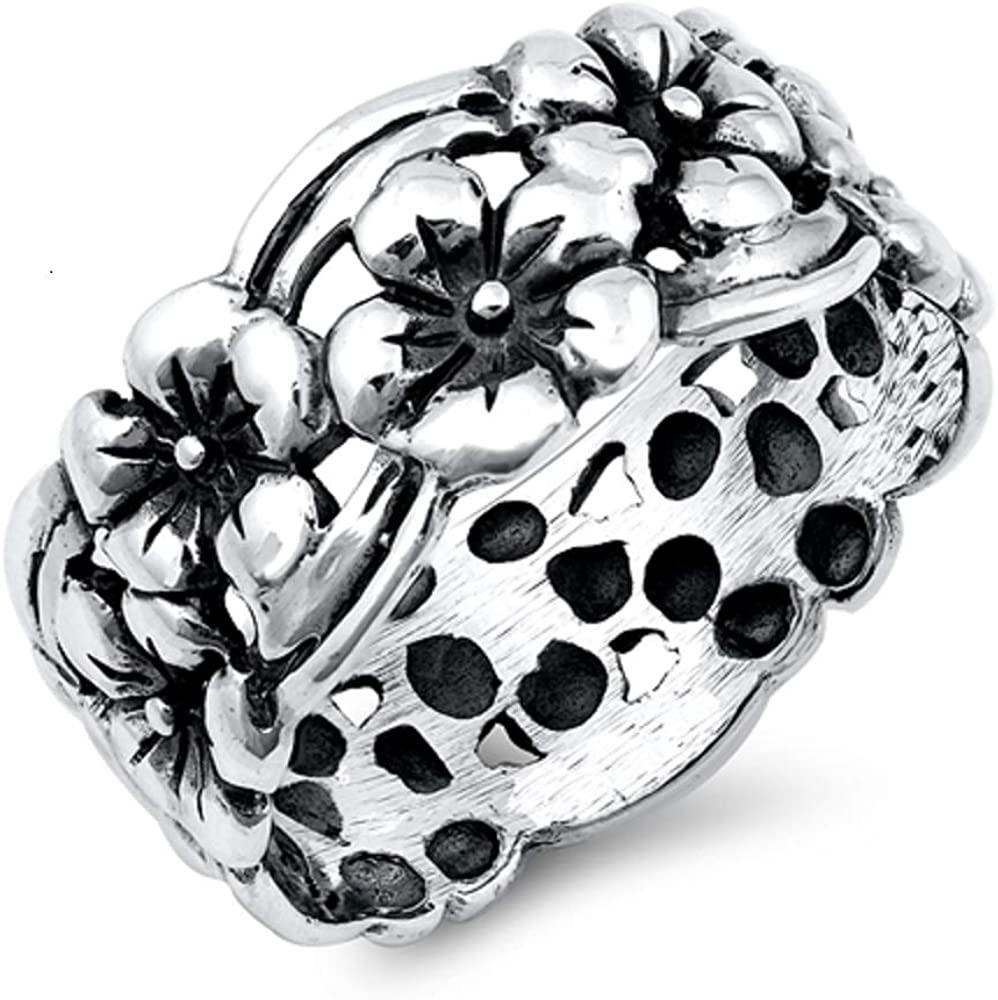 Princess Kylie Oxidized Sterling Silver Multiples Flowers Ring