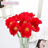 Artificial Flowers, Meiwo 10 Pcs Nearly Natural Artificial Poppies Flowers For Wedding Bouquets / Home Decor / Party / Graves Arrangement(Red)