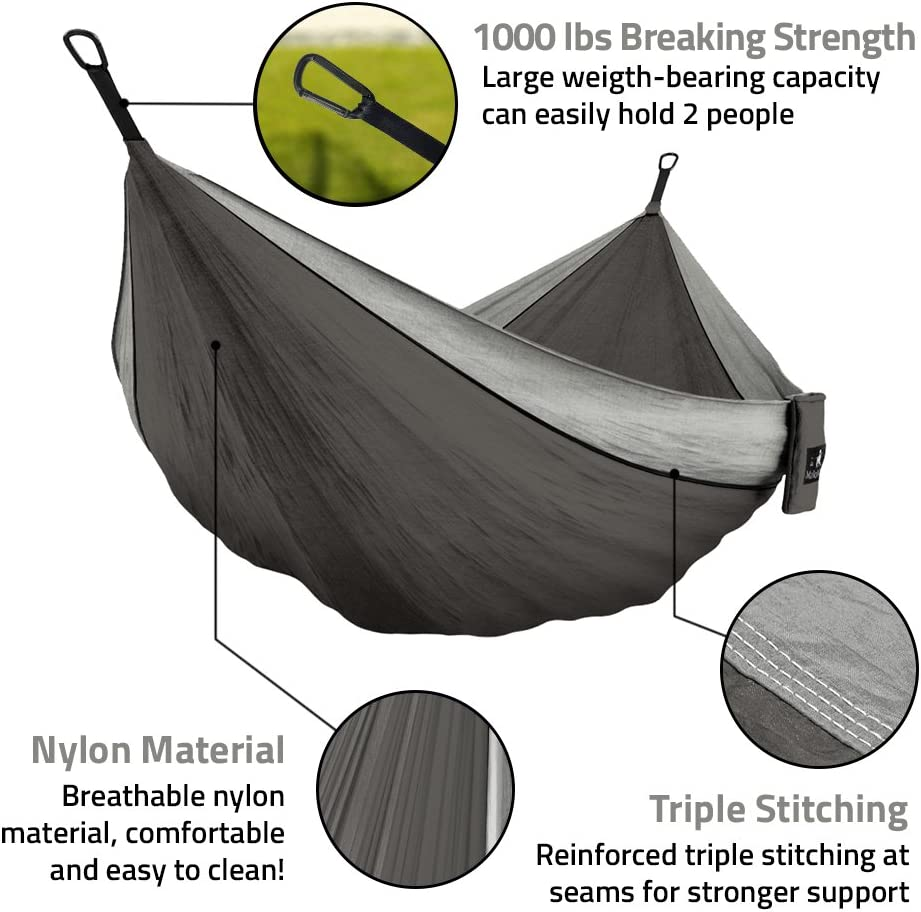 Parachute Lightweight Nylon with Hammok Tree Straps Set MalloMe Double /& Single Portable Camping Hammock Free 2 Carabiners 2 Person Equipment Kids Accessories Max 1000 lbs Breaking Capacity