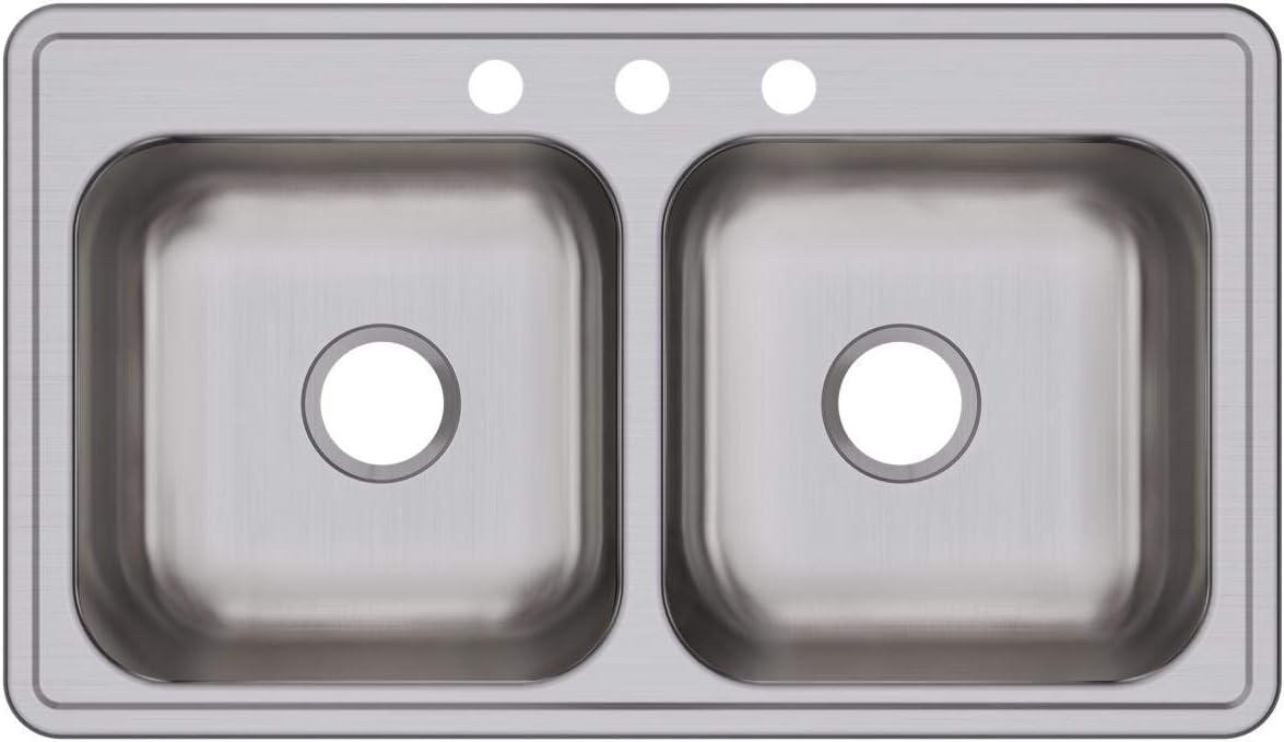 Elkay DSE233193 Dayton Equal Double Bowl Drop-in Stainless Steel Sink