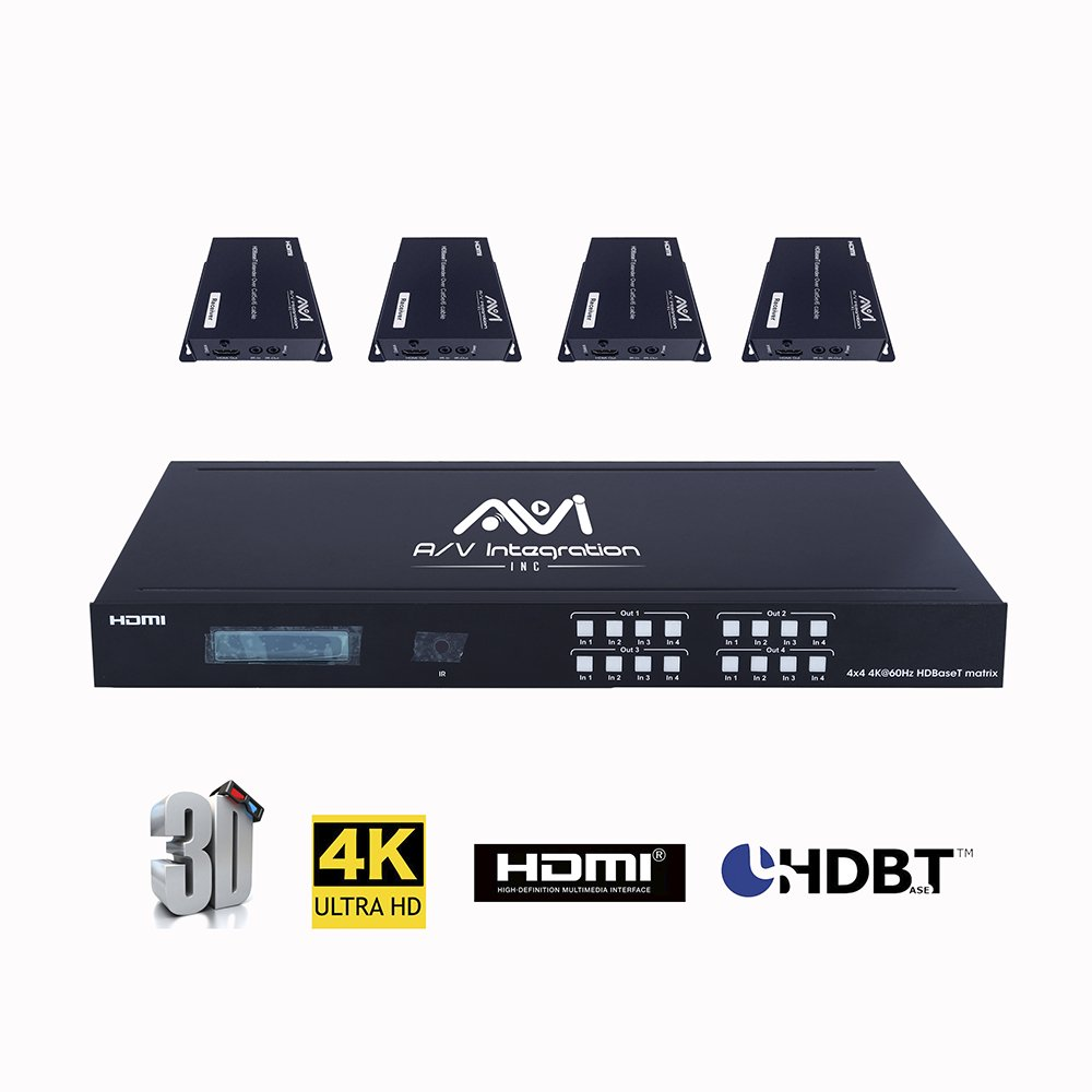 AVI HDBaseT HDMI 2.0 HDCP 2.2 4K 4X4 HDMI Matrix Extender Switcher With 4 POE Receivers Over Single Cat5e/6 Cable Supports Ultra HD 3D 60HZ @ 4Kx2K with Bi-directional IR (Matrix+4receivers)