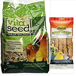 Higgins Vita Seed Conure Bird Food Bundle, 1-2.5 lb. Bag of Vita Seed Conure Bird Seed Mix & 1-6 ct Millet Spray Bird Treat, Fast Free Delivery, by Just Jak's Pet Market