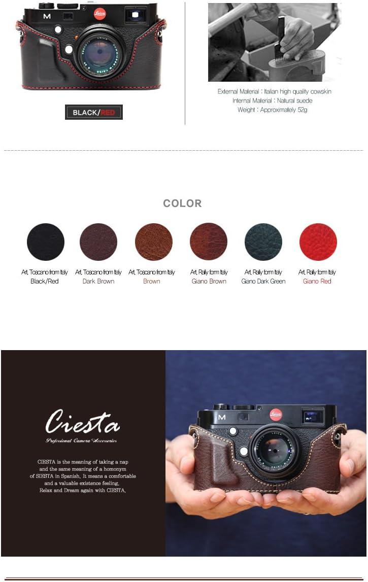 Ciesta Genuine Leather Body Jacket Half Case for Leica M Type 240 Black w. Red Stitching HANDMADE