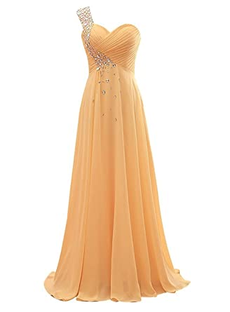 WAWALI Crystal One Shoulder Prom Dresses Evening Party Gowns 2 Burlywood