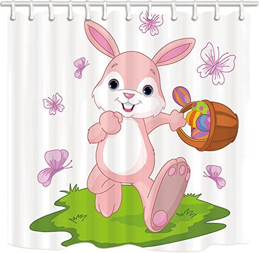 Easter Rabbit Holding Egg Shower Curtain Set Bathroom Mat 100/% Polyester Fabric