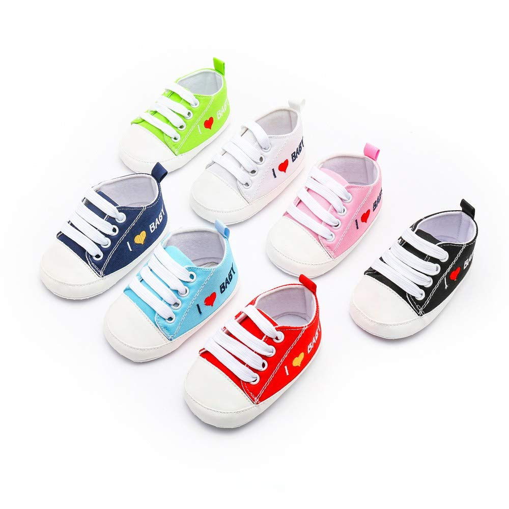 EDTO Newborn Toddler Baby Girls Boys Heart Letter Print Solid Soft Sole Casual Shoes Sneakers
