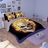 FAITOVE Skull Microfiber 3pc 104''x90'' Bedding Quilt Duvet Cover Sets 2 Pillow Cases King Size