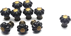 "Tulead 10PCS Mini Knobs Ceramic Cabinet Pulls Black Furniture Knobs Pumpkin Knobs Kitchen Drawer Knobs 1"" x 1.2"" with Mounting Screws"