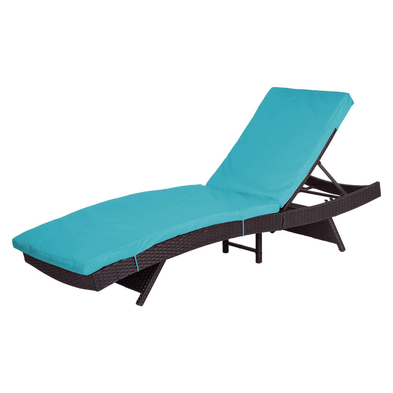 Peachtree Press Inc Peach Tree Outdoor Patio PE Rattan Wicker Adjustable Chaise Lounge Chair w/Blue