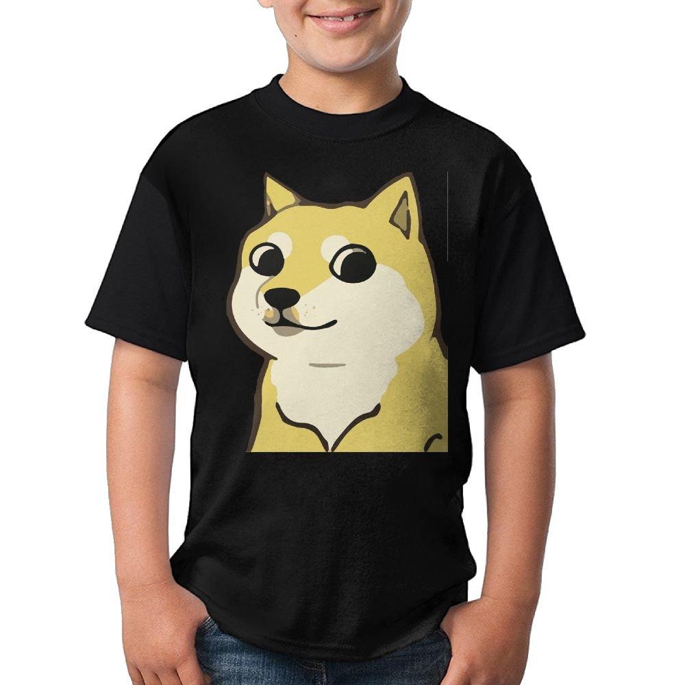 Doge Dog Youth Boys 3D Printed Short Sleeve Funny Crew Neck Tshirts X-Large