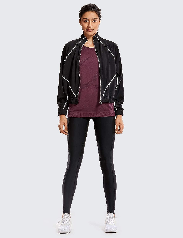 CRZ YOGA Donna Termici Leggings Fitness Fodera in Pile Sportivi Pantaloni con Tasche Laterali-71cm