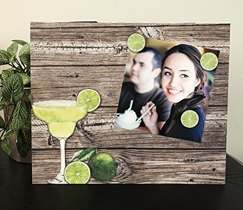 "Fiesta Fun Margarita Lover green jeweled wooden gift handmade magnetic picture frame holds 5"" x 7"" photo 9"" x 11"" size -"