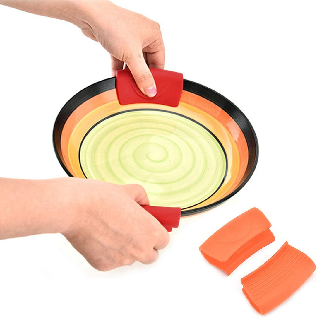 Bigbigjk 4 Pieces Silicone Assist Handle Holder Scald-Proof Heat Insulated Pot Grip Cover Pot Holder for Pans, Frying Pans, Griddles (Orange,Red)