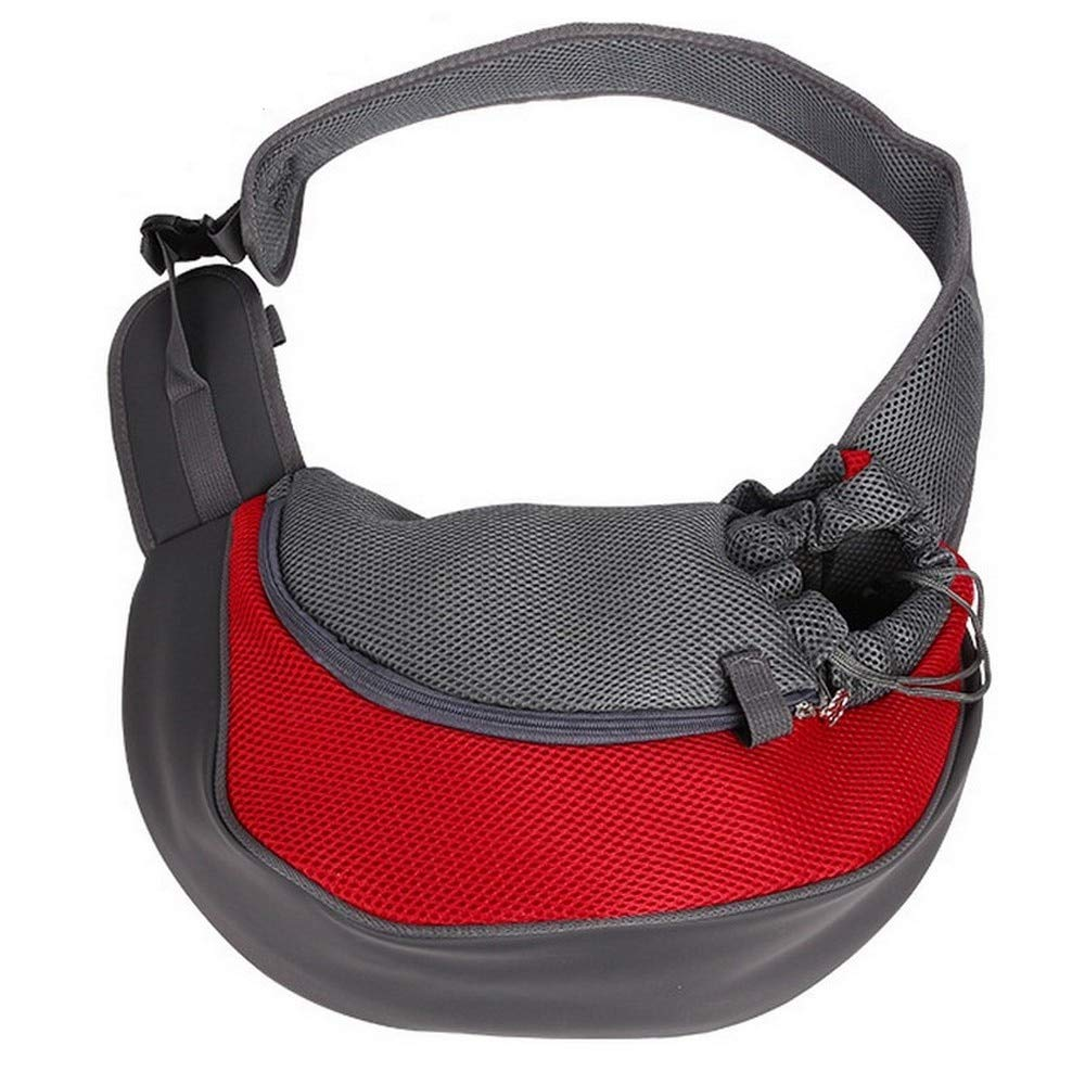 Krassu Pet Carrier Cat Puppy Small Animal Dog Carrier Sling Front Mesh Travel Tote Shoulder Bag Backpack [Red L]
