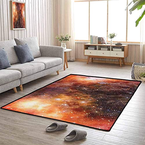 Outer Space Outdoor Patio Rug Nebula Gas Cloud in Deep Outer Space Galaxy Expanse Milky Way Print Machine Washable 4 x6 Burnt Orange Black