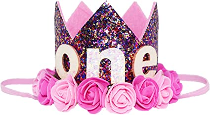 """Floral Gold 1 Petsidea Cute Glitter 1//2 1st 2 3 Dog Birthday Floral Crown Puppy Birthday Flower Hat for /""""Daughter/"""" Photo Prop Pet Party Supplies"""