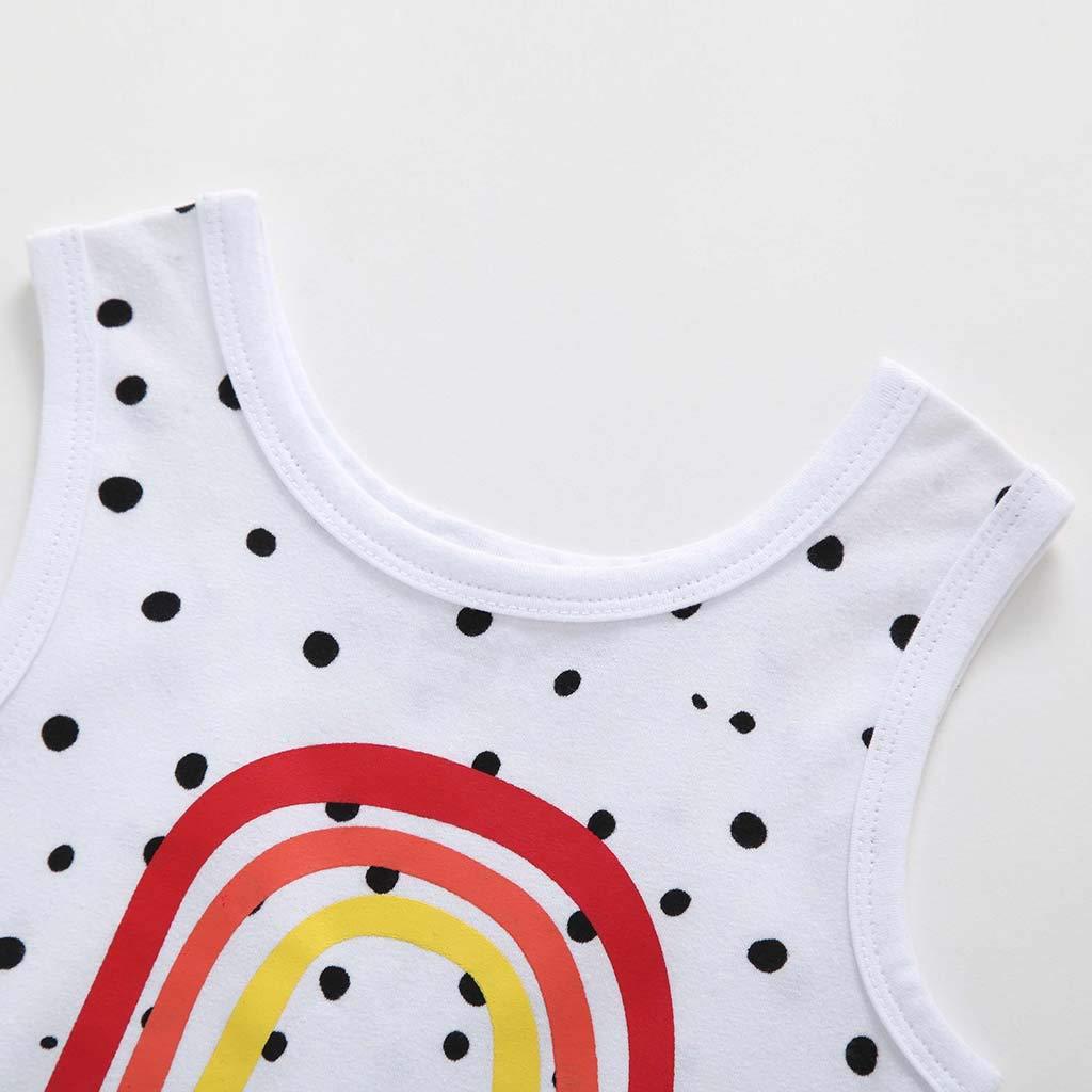 SSZZoo Toddler Baby Boys Girls Romper Sleeveless Wavepoint Rainbow Print Jumpsuit Onesies Bodysuit