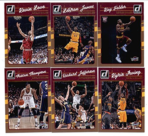 (2016-17 Donruss Basketball Cleveland Cavaliers Team Set of 6 Cards in 4-Pocket Collector's Album which includes: LeBron James(#15), Kevin Love(#16), Kyrie Irving(#17), Richard Jefferson(#18), Tristan Thompson(#19), Kay Felder(#192))