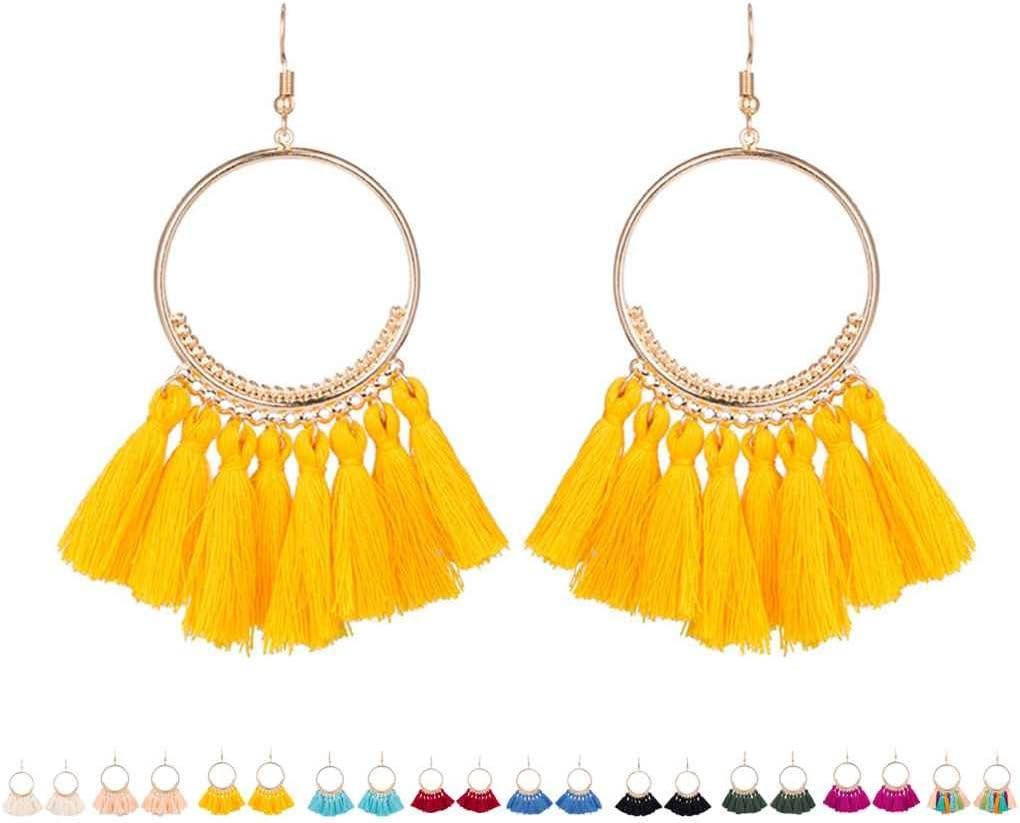 Arichtop Femmes Mode Boh/ème Ethnique Frang/é Gland Boucles Doreilles Or Rond Cercle Anneau Pendaison Pendants Boucles Doreilles Jewelr