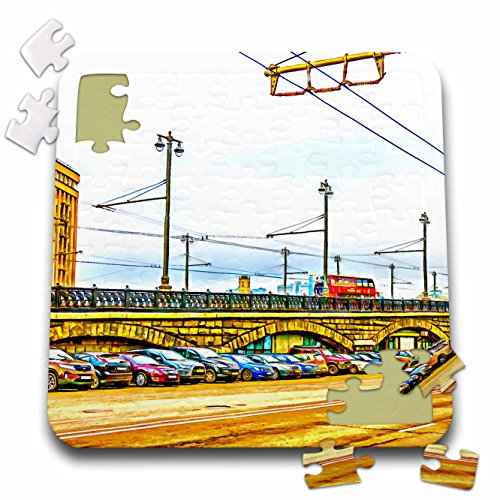 Alexis Photo Art   Moscow City   Line Of Cars By Moscow Large Stone Bridge  Digital Painting   10X10 Inch Puzzle  Pzl 272242 2